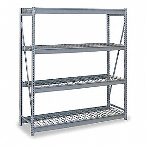 "48""W x 48""D x 96""H Steel Bulk Storage Rack Starter Unit, Dove Gray&#x3b; Number of Shelves: 4"