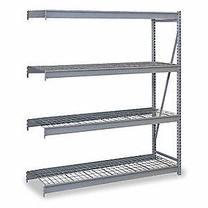 "Add-On Bulk Storage Rack with Steel Wire Decking and 4 Shelves, 48""W x 48""D x 120""H"