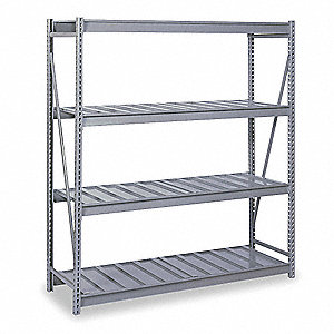 "48"" x 48"" x 96"" Steel Bulk Storage Rack Starter Unit, Gray&#x3b; Number of Shelves: 4"