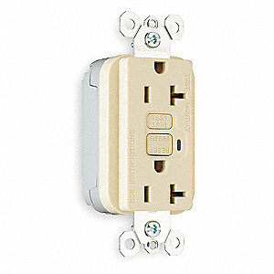 Modular GFCI Receptacle, 20A Amps, NEMA Configuration: 5-20R, Outlet Type: Decorator, Self-Testing: