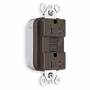 Decorator Duplex Receptacle with GFCI, 20 Amps, NEMA Configuration: 5-20R, Self-Testing: No