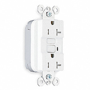 GFCI Receptacle, 20 Amps, NEMA Configuration: 5-20R, Outlet Type: Duplex, Self-Testing: No
