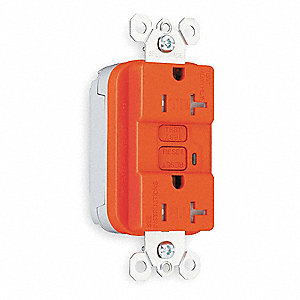 Modular GFCI Receptacle, 20 Amps, NEMA Configuration: 5-20R, Outlet Type: Decorator, Self-Testing: N