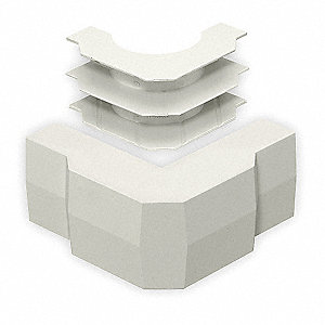 PVC External Elbow Base and Cover For Use With Wall-Trak® Raceway, White
