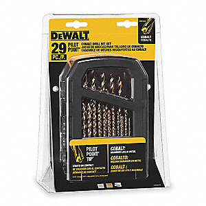 Pilot Point Drill Bit Set,Cobalt,29 Pc