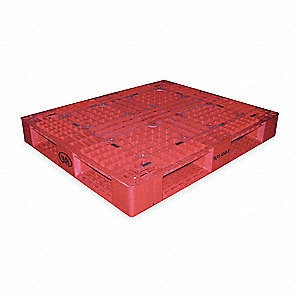 Plastic Pallet,48 L X 40 In W,Red