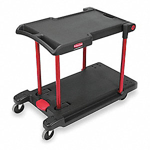 "45""L x 23-1/2""W Black Utility Cart, 400 lb. Load Capacity, Number of Shelves: 2"