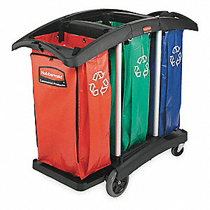 (3) 34 gal. Red/Green/Blue Stationary Recycling Container Bags, Open Top