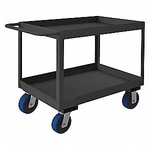 Steel Flat Handle Deep Shelf Utility Cart, 3600 lb. Load Capacity, Number of Shelves: 2