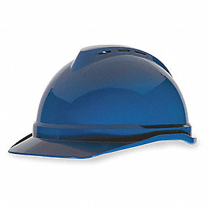 Front Brim Hard Hat, 4 pt. Ratchet Suspension, Blue, Hat Size: 6-1/2 to 8