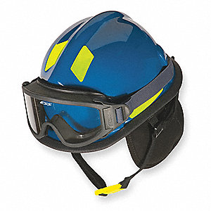 Blue Fire and Rescue Helmet, Shell Material: Thermoplastic, Ratchet Suspension, Fits Hat Size: 6-3/8
