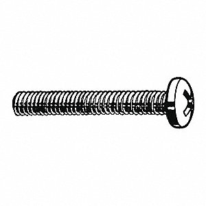 "3/8"" 18-8 (304) Stainless Steel Machine Screw with Pan Head Type and Plain Finish&#x3b; PK100"
