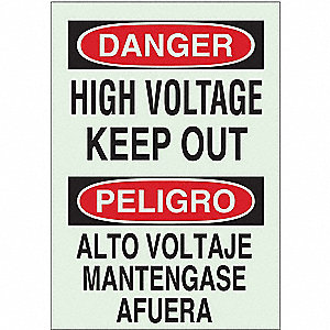 Danger Sign,14 x 10In,R and BK/GRN,Text