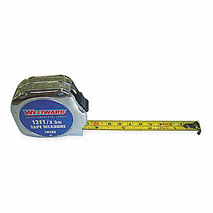 MEASURING TAPE,12 FT,IN/MM,CHROME