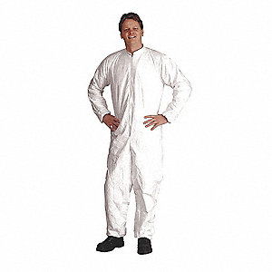 Collared Disposable Coveralls with Elastic Cuff, White, 3XL, Tyvek® IsoClean®