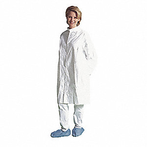 White, Tyvek® Flashspun Polyethylene, Disposable Cleanroom Coat, Size: XL
