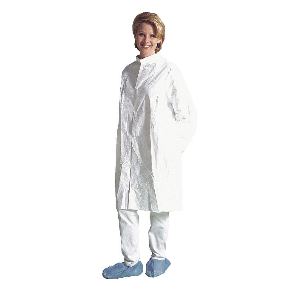 DUPONT White Tyvek® Flashspun Polyethylene Disposable Cleanroom Coat ...