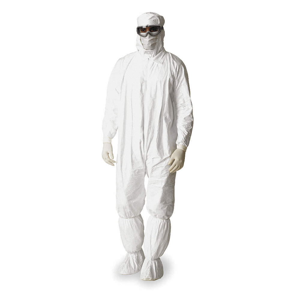 Hooded Disposable Coveralls with Elastic Cuff, Tyvek® IsoClean® Material,  White, XL