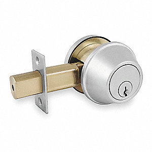 Deadbolt,Med.Duty,Brushed Chrome