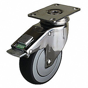 "5"" Light-Duty Swivel Plate Caster, 260 lb. Load Rating"