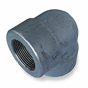 "Galvanized Forged Steel Elbow, 90°, 1"" Pipe Size, FNPT Connection Type"