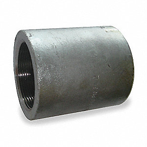 "Galvanized Forged Steel Coupling, 1-1/4"" Pipe Size, FNPT Connection Type"