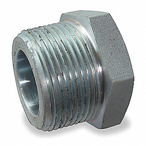 "Galvanized Malleable Iron Hex Bushing, 3/8"" x 1/4"" Pipe Size, MNPT x FNPT Connection Type"