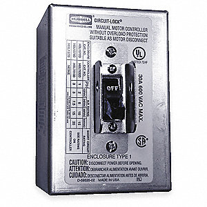 Manual Motor Switch, 30 Amps AC, Toggle Operator