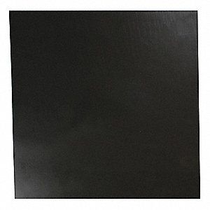 "Neoprene Rubber Sheet, 12""W x 1 ft.L x 1/4""Thick, 30A, Plain Backing Type, 450% Elongation, Black"