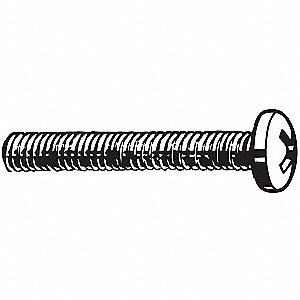 "#10-32 Machine Screw, Carbon Steel, 1"" L, 100 PK"