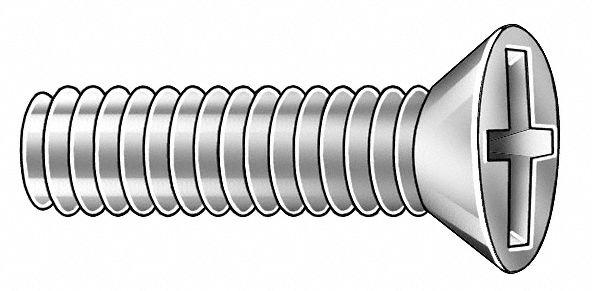 M2 5-0 45mm Machine Screw, Flat, Phillips, Property Class 4 8 Steel, Zinc  Plated, 6mm Length