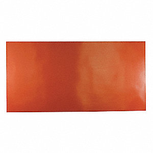 "Silicone Rubber Sheet, 12""W x 2 ft.L x 1/2""Thick, 40A, Plain Backing Type, 350% Elongation, Red"