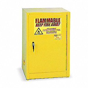 "23"" x 18"" x 35"" Galvanized Steel Flammable Liquid Safety Cabinet with Manual Doors, Yellow"