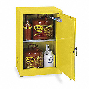 "23"" x 18"" x 35"" Galvanized Steel Flammable Liquid Safety Cabinet with Self-Closing Doors, Yellow"