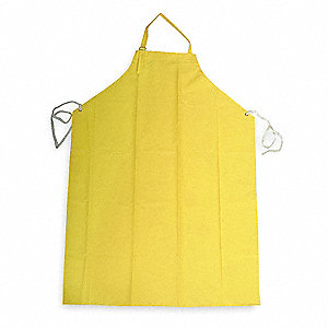 "Bib Apron, Yellow, 45"" Length, 35"" Width, Double Coated PVC/Nylon Material, EA,  1"