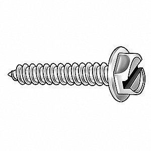 "1"" Case Hardened Steel Sheet Metal Screw with Hex Washer Head Type and Zinc-Plated Finish, 910 PK"