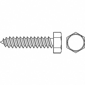 "5/8"" Case Hardened Steel Sheet Metal Screw with Hex Washer Head Type and Zinc-Plated Finish, 100 PK"