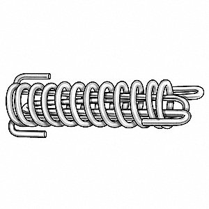 "16"" 302 Stainless Steel Safety Drawbar Extension Spring with Plain Finish&#x3b; PK1"