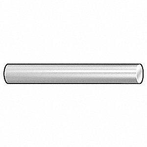 "Hardened Ground Stainless Steel Dowel Pin, Passivated Finish, 1"" L, 0.1251 to 0.1253"" Pin Dia."