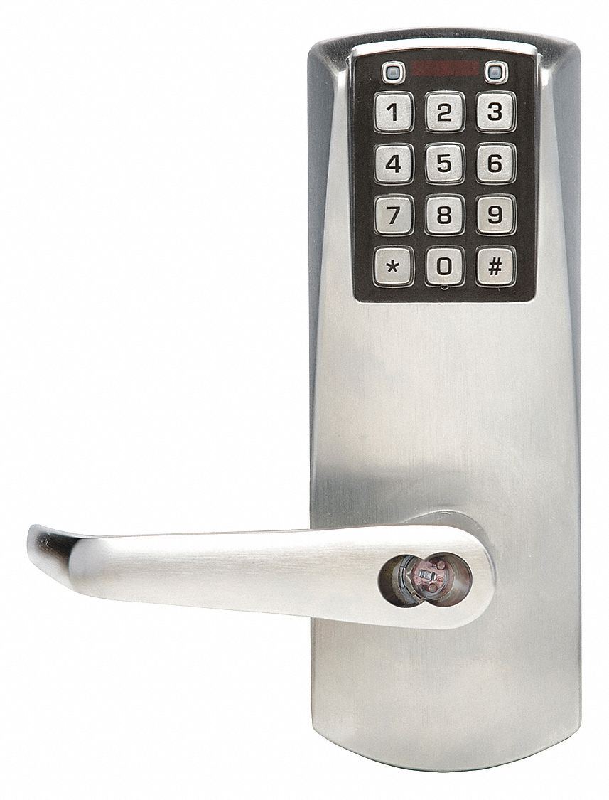 Electronic Keyless Lock, 2-3/4 in Backset, Cylindrical, Satin Chrome, 1/2 in Latch Length