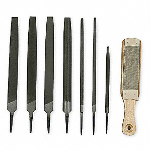 "10"" American Pattern Maintenance File Set with Natural Finish; Number of Pieces: 8"