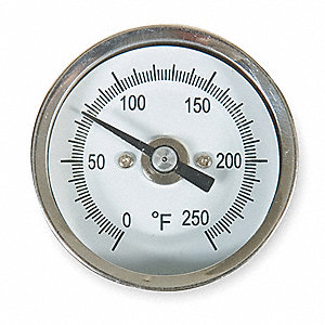 Analog Dial Thermometer,  Bimetal,  2 in Dial Size,  1/4 in NPT Connection Size