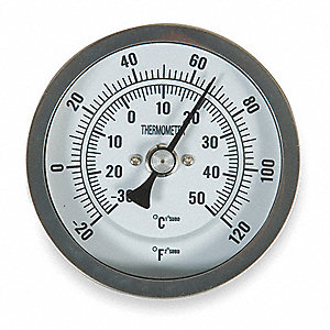 Bimetal Thermom,3 In Dial,-20 to 120F