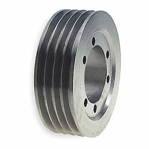 "V-Belt Pulley,Detachable,4Groove,7.5""OD"