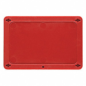 "Blank Tag, Plastic, Height: 2-1/2"", Width: 4"", Red"