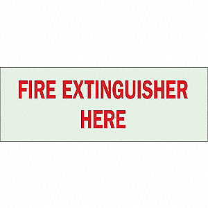Fire Extinguisher Sign,5 x 14In,R/GRN
