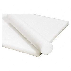 "Sheet Stock, Acetal Copolymer, 48""L x 12""W x  0.375"" Thick, 180 Max. Temp. (F), White"