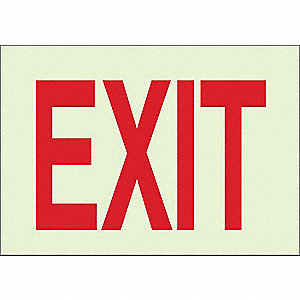 Exit Sign,10 x 14In,R/WHT,Exit,ENG,Text