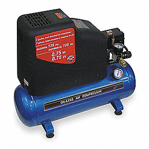 0.75 HP, 115VAC, 3 gal. Portable Electric Oil-Free Air Compressor, 135 psi