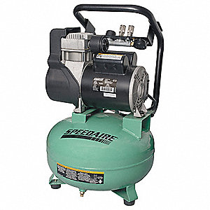 1.80 HP, 115VAC, 6 gal. Portable Electric Oil-Free Air Compressor, 125 psi